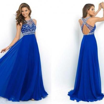 Elegant Royal Blue Chiffon A-Line ..