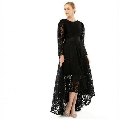 Black Lace Long Sleeve Evening Dres..