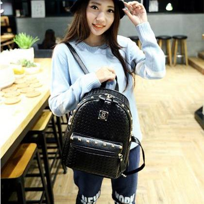 Fashion Women Black PU Unique Backp..