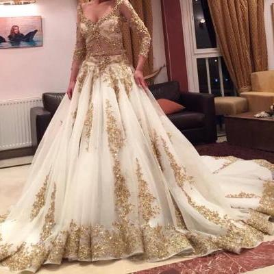 2016 Newest Twp Pieces Wedding Dresses A-line V-neck Long Sleeves Golden Appliques Sequined Chapel Train Bridal Gowns Custom