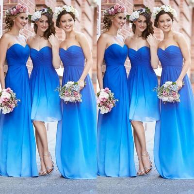 Elegant Sweetheart Empire Gradient Blue Prom Dresses ,2015 Summer Style Party Dress for Wedding Dresses,Bridesmaid Dresses,Long Chiffon Graduation Dresses