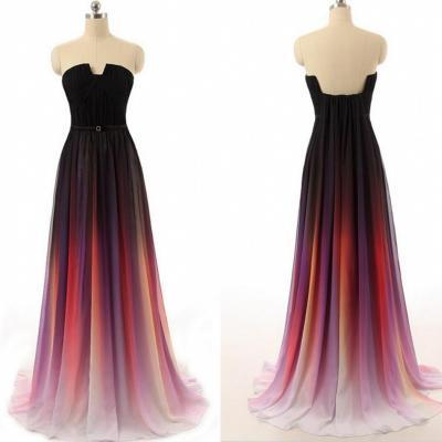 New Cheap Gradient Ombre Chiffon Prom Dress Evening Dress Strapless with Pleats Women Dress