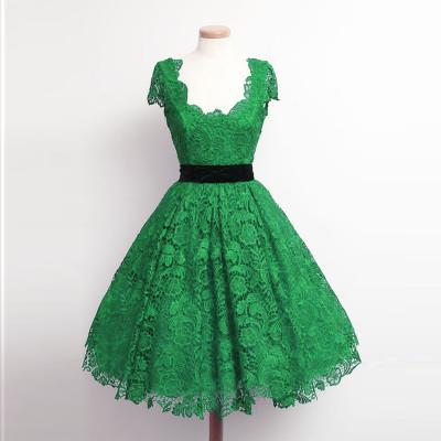 Custom Made A-line Scoop Knee Length Lace Green Cap Sleeve Homecoming Dresses Short Formal Dresses Lace Evening Party Dresses