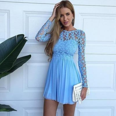 Sexy Long Sleeve Hollow Lace Blue Homecoming Dresses 2016 Chiffon Short Cocktail Party Dresses Mini Bridesnmaid Dresses