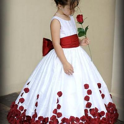 Flower Girl Dresses For Weddings With Red Bow Sleeveless Taffeta Pageant Dresses for Little Girls First Communion Dresses
