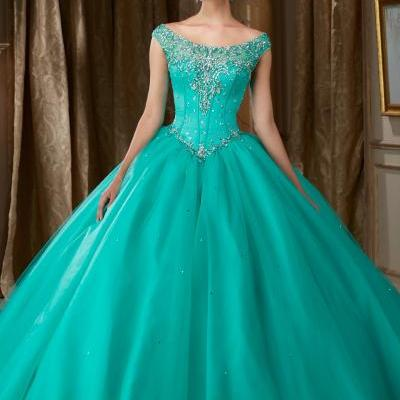 2016 New Hunter Green Quinceanera dresses Ball Gowns Scoop Cap Sleeve Open Back Crystals Beads Sweep Train Tulle Prom Dress Pageant Gown