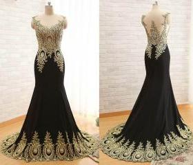 Sheer Neck Prom Dres..