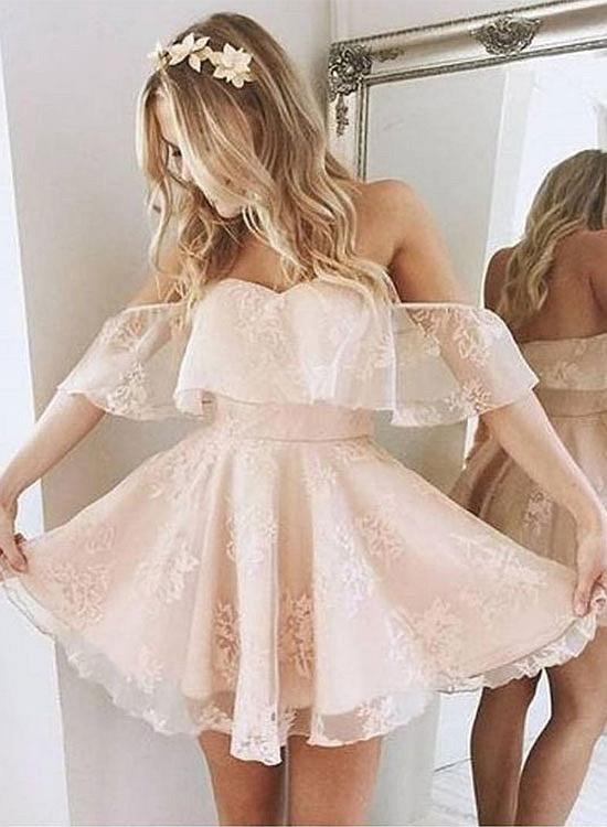 Cute Off The Shoulder Ruffle Short Homecoming Dress A-Line Party Dress
