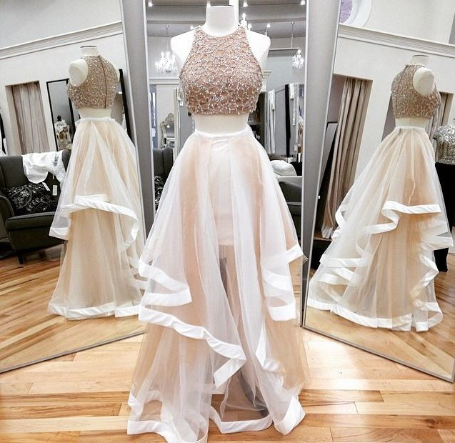 554fb5fd9696 Sexy Two Pieces O-neck White Long Prom Dresses Sequin Tulle Evening Dresses  Party Dresses