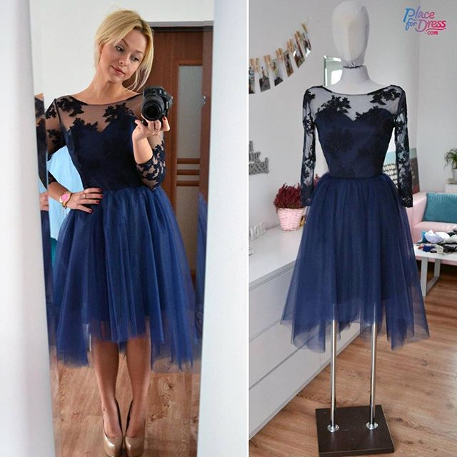 8d90a8087214 Cute A-line Short Navy Blue Homecoming Dresses Lace Top Tulle Homecoming  Dresses Party Dresses