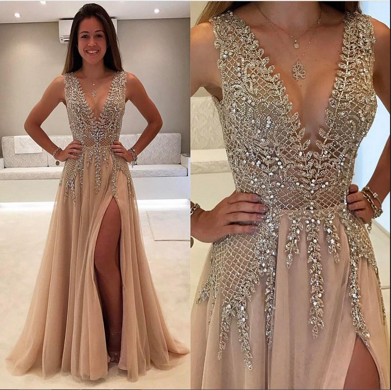 efb01617 Charming Champagne Deep V-neck Sparkly Long Prom Dresses with Split Evening  Dresses Party Dresses