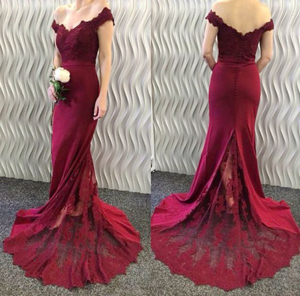 3eb4552a9ad Charming Off Shoulder Mermaid Prom Dress Burgundy Long Evening Dress Formal  Dresses Graduation Dresses
