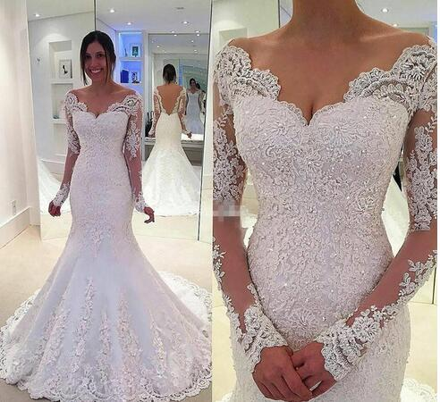 574920462b Luxury Ivory Long Sleeves Lace Appliques Bridal Dresses Backless Sparkly Beaded  Mermaid Wedding Dresses Long Bridal