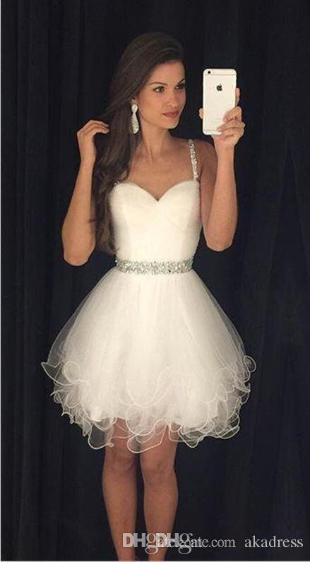 Spaghetti Straps White Homecoming Dresses Cheap Beaded Crystal Short