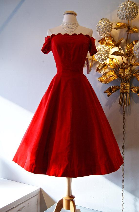 Retro 1950's Style Prom Dresses Red Satin Off-The-Shoulder Party Dress Short Sleeves Tea Length Homecoming Dresses 2017