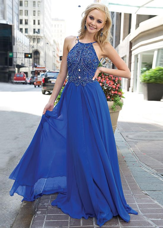 Royal Blue Beaded Sleeveless Prom Dress Long Chiffon Dress Elegant ...
