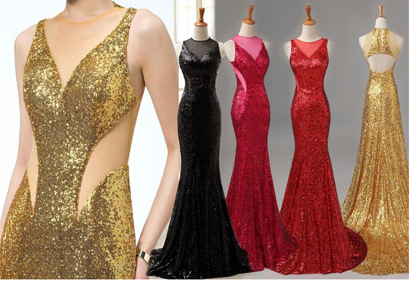 Sexy Mermaid Evening Dresses O Neck Backless Sequined Party Dresses