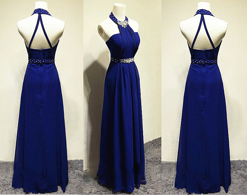 Royal Blue Halter Chiffon 2015 Long Elegant Evening Dresses For Women Beading Sash Ruched Prom Gowns Party Dresses Mother of the Bride Dresses