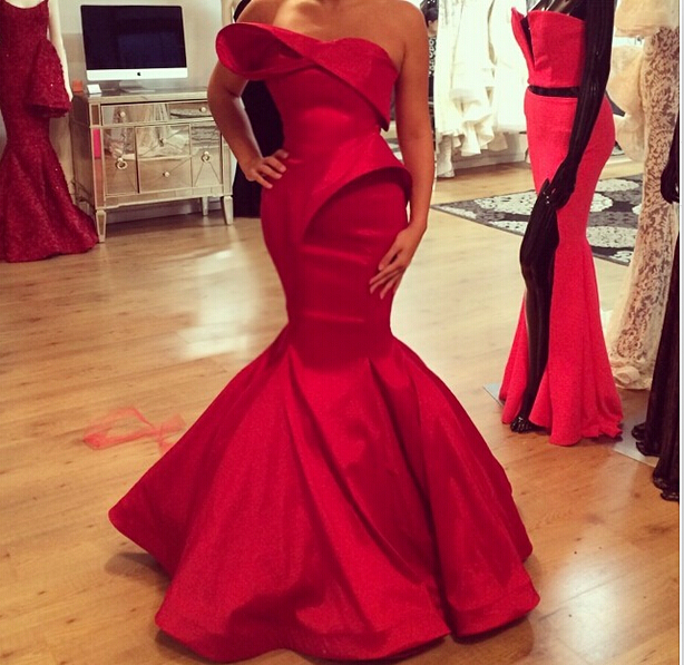 Fast shipping new pleat red long mermaid prom dress 2015 evening party dress floor length satin prom gowns custom made