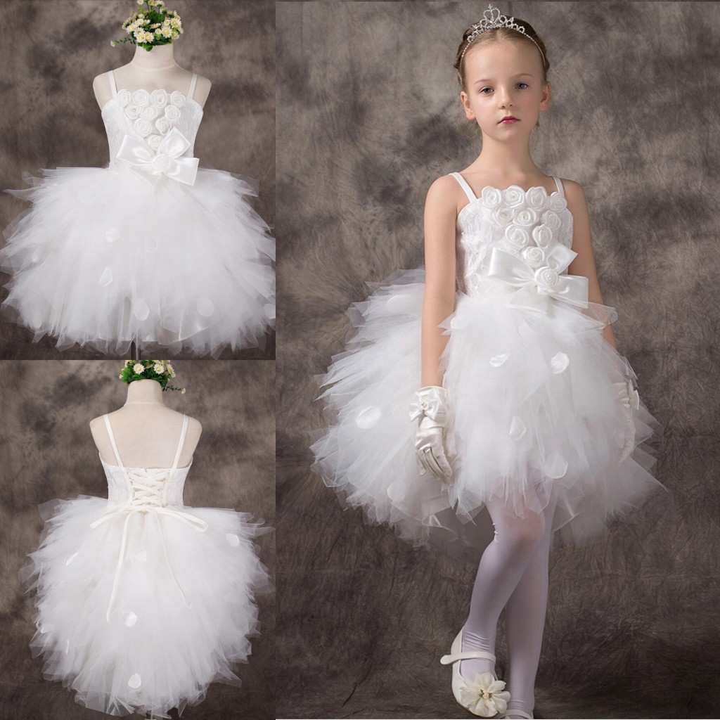 Girl\'s Peformance Dresses 2015 White Tulle Ball Gown Spaghetti ...