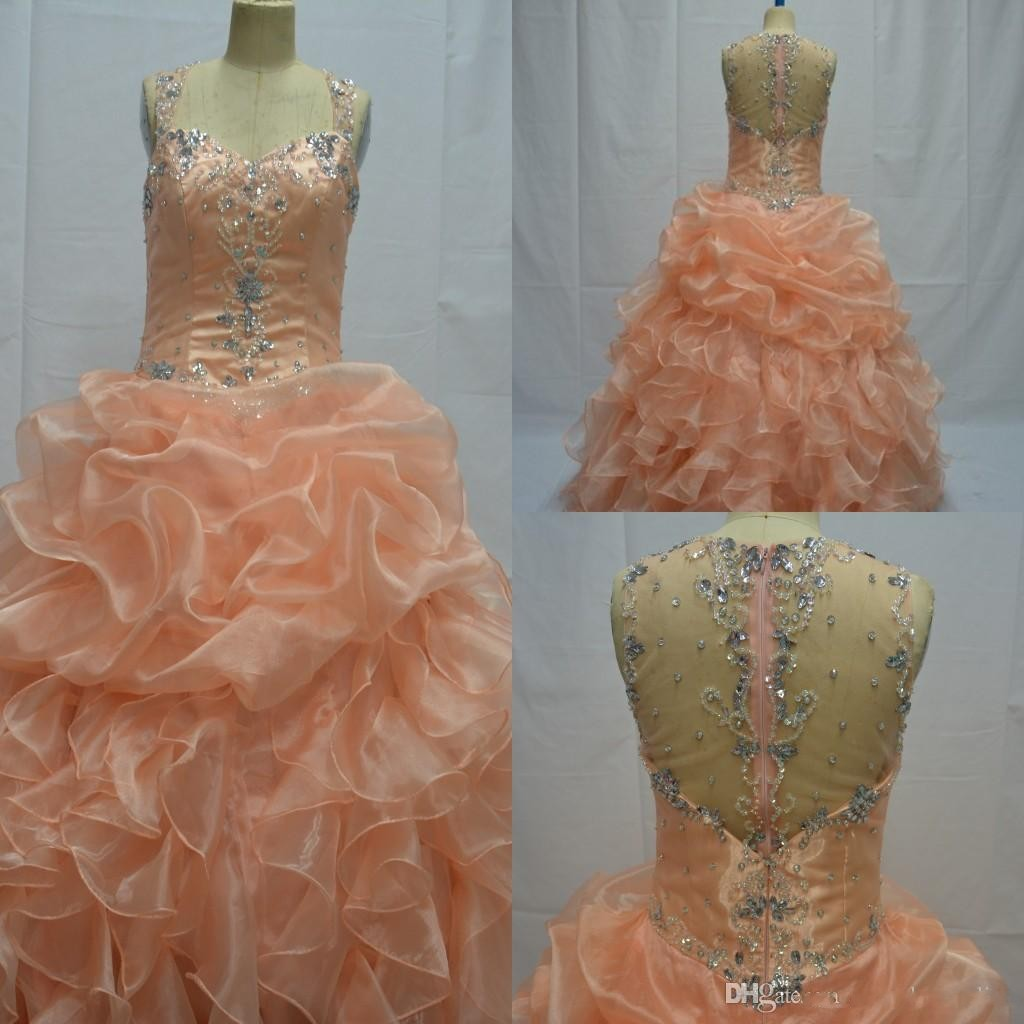 Organza Ball Gown Quinceanera Dresses Sweetheart Beads Crystals Cascading Ruffles Sweet 15 -16 Princess Dresses Plus Size