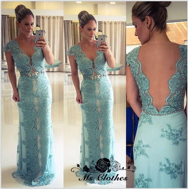 Light Blue Fashionable Evening Dresses,Sheath V-neck Cap Sleeve ...