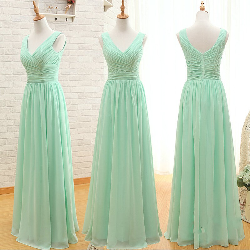 A Line Simple Elegant Cheap Long Mint Green Bridesmaid Dresses 2015,Party Dresses for Wedding,Chiffon Prom Dresses