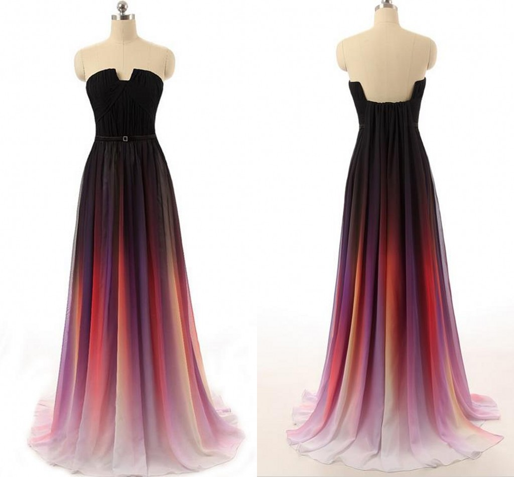 Ombre Wedding Gown: New Cheap Gradient Ombre Chiffon Prom Dress Evening Dress
