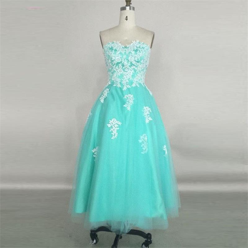 Elegant Ankel Length Turquoise Wedding Party Dresses 2015 A-line Sweetheart Appliques Prom Gowns Celebrity Dress