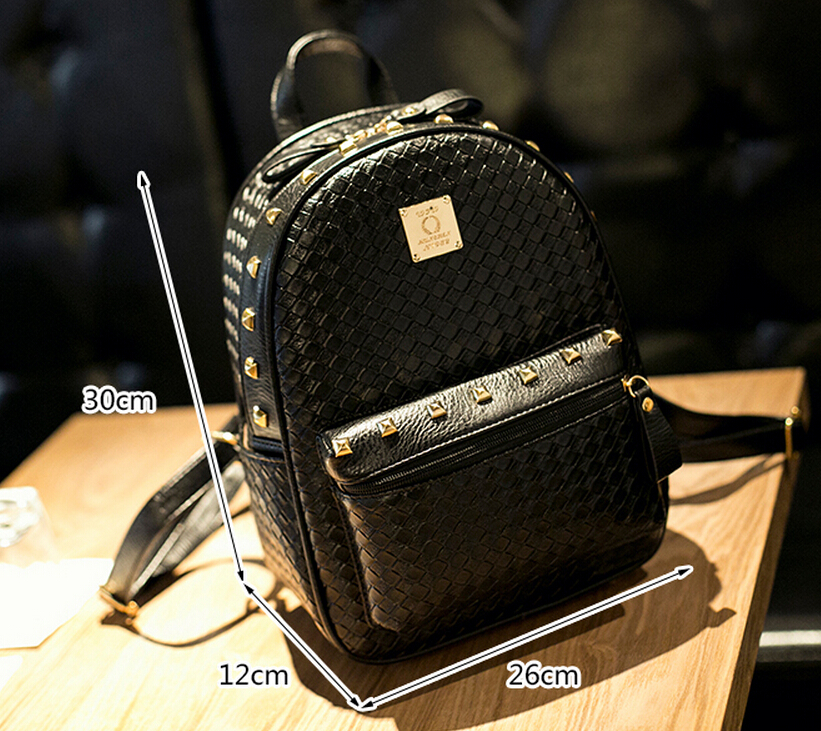 Fashion Women Black PU Unique Backpack Bag ,Shoulders Bag,Students Bag