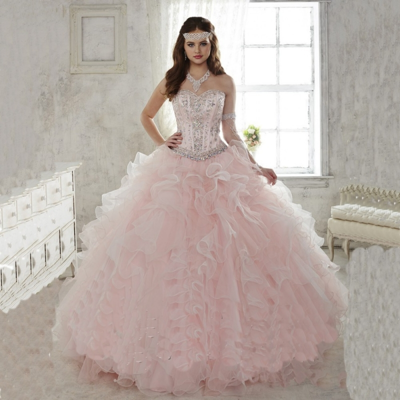 4daaaad15 2015 Light Pink Quinceanera Dresses Ball Gown Sweetheart With Beads Sweet  16 Dress Vestidos De 15