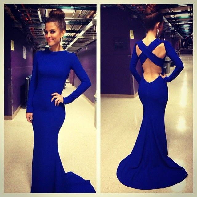 Top Selling Long Sleeves Open Back Royal Blue Mermaid Prom Dress High Neck  Trumpet Long Sexy