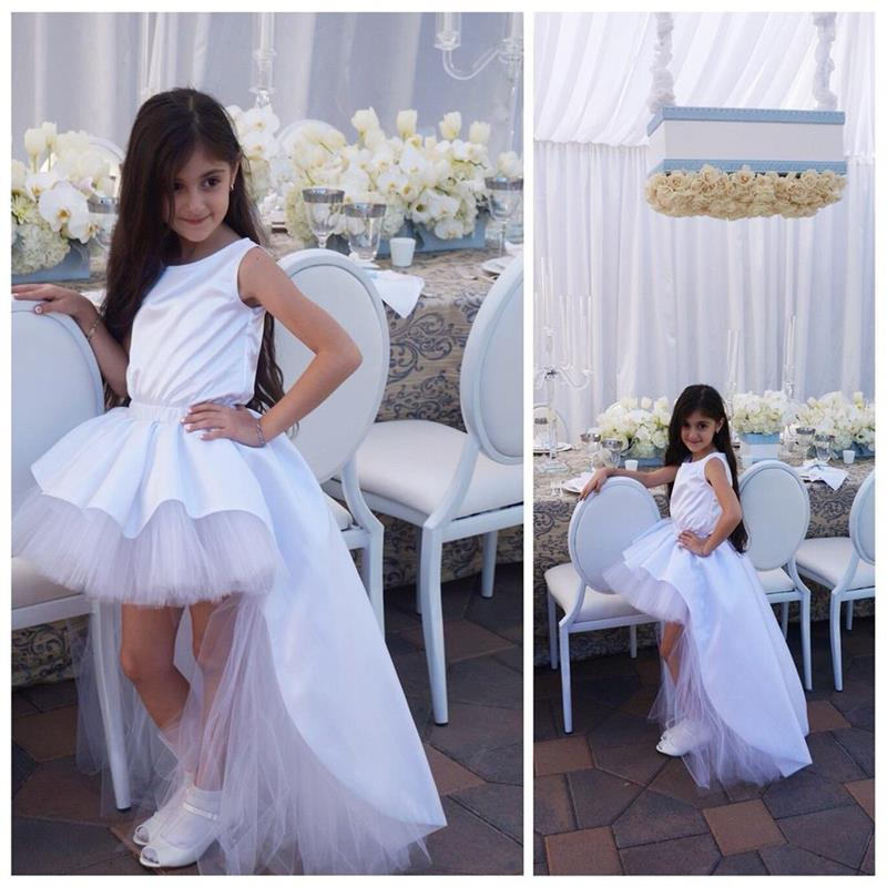 New White Elegant High Low Flower Girl Dresses Ball Gown Child Cheap