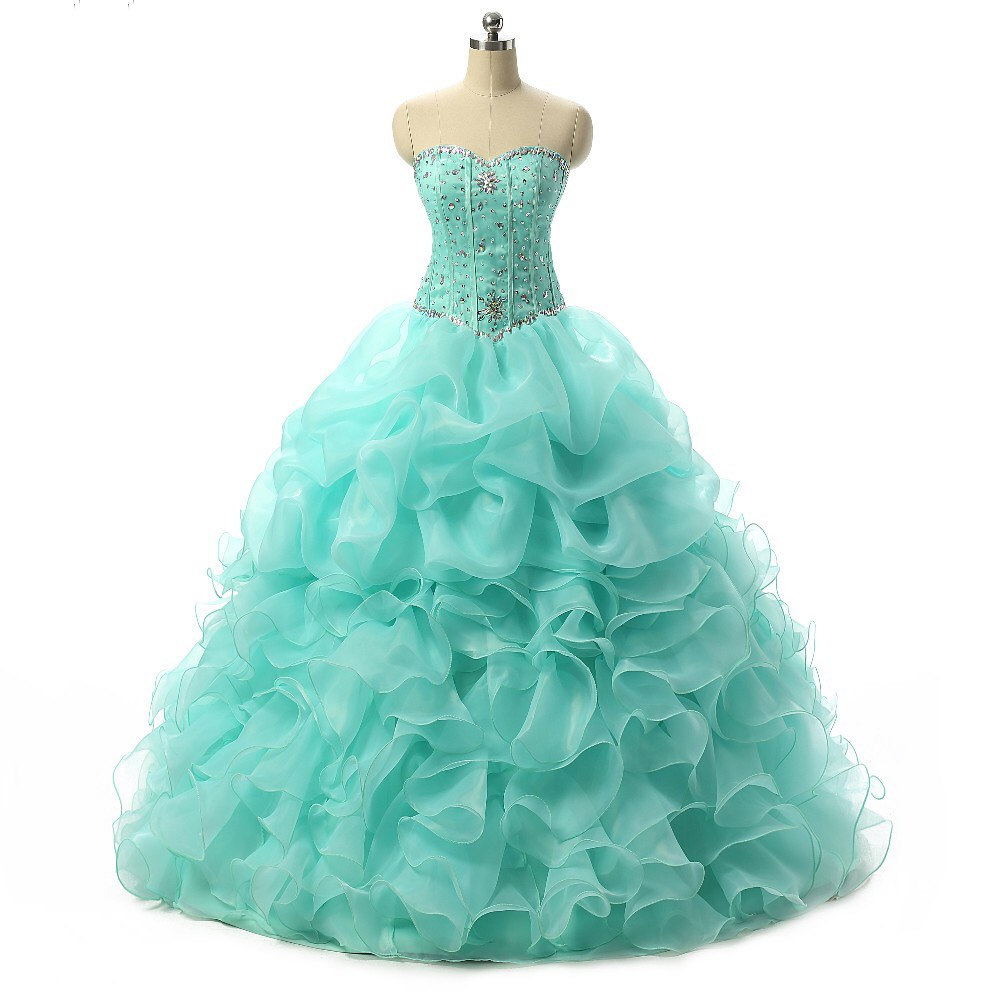 Hot Sale Quinceanera Dresses 2016 Organza Ball Gown Sweetheart ...