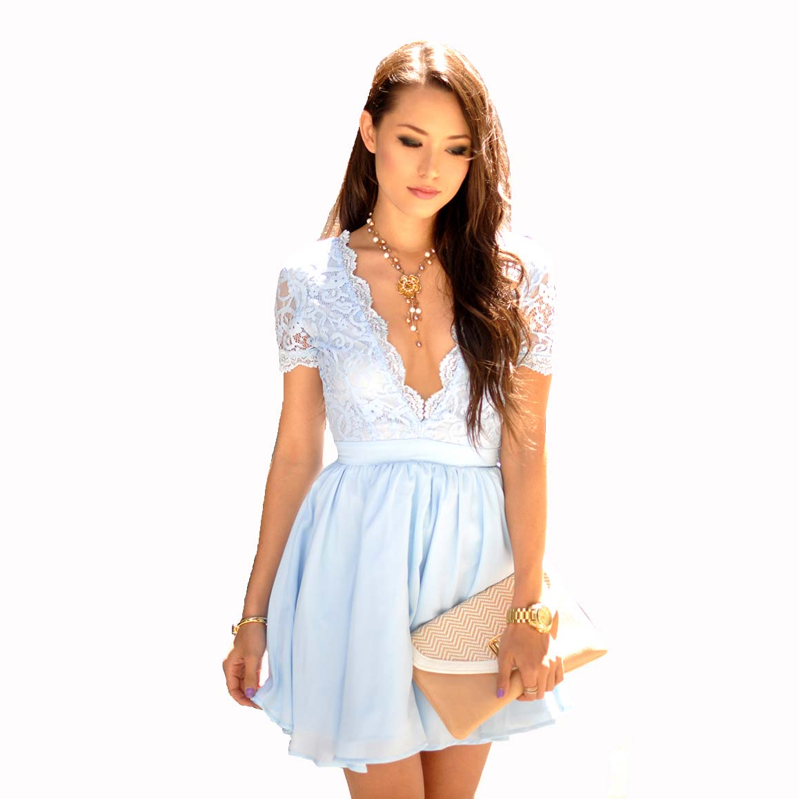 5cd9891a10 New Sexy Light Blue Homecoming Dresses V Neck Sheer Short Sleeves Chiffon  Mini Lace Top Short