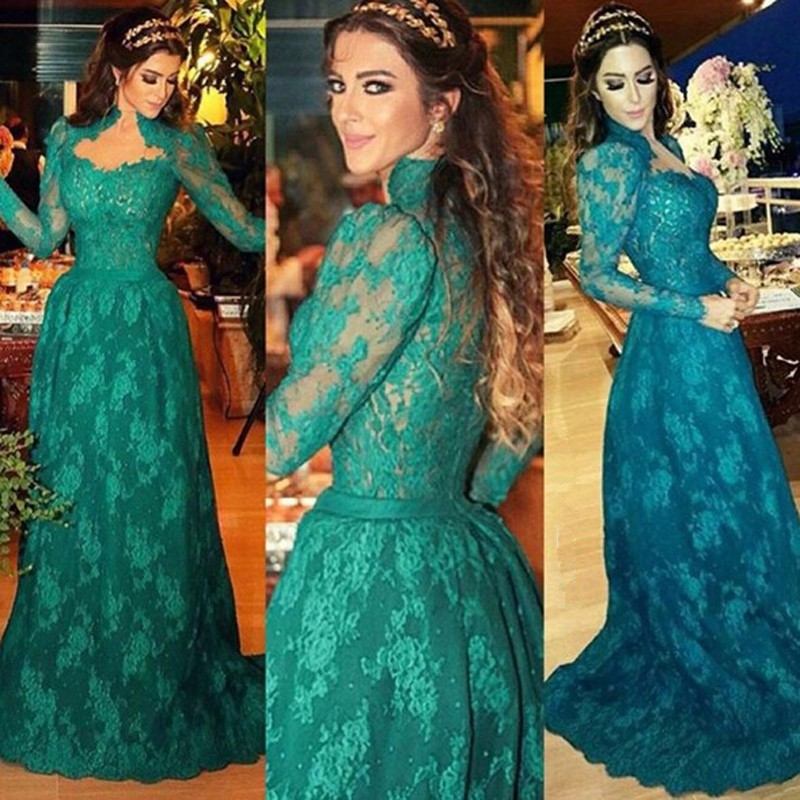 ccb7d6232a55 Elegant Hunter Green Long Sleeve Evening Dresses A Line High Neck Floor  Length Women Formal Party