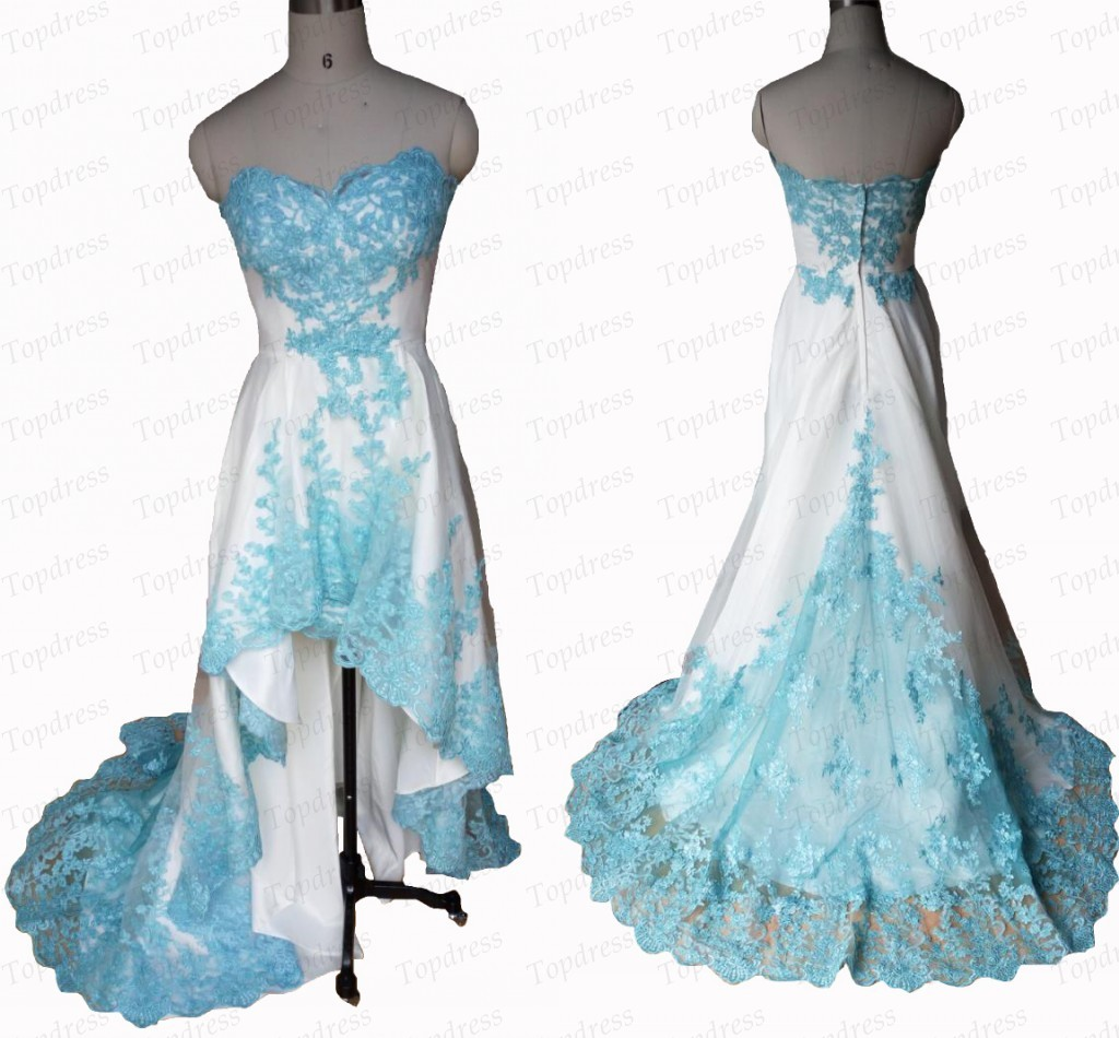 White And Turquoise High Low Beautiful Lace Appliques Prom Dresses ...
