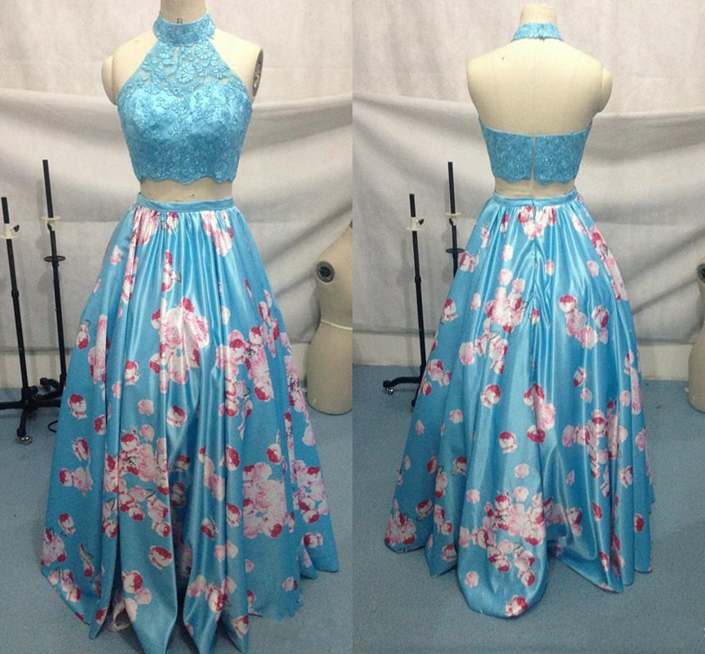 Real Image Two Pieces Long Dresses Light Sky Blue Halter Neck Lace Bodice Satin Floral Prom Dresses Graduation Homecoming Dresses