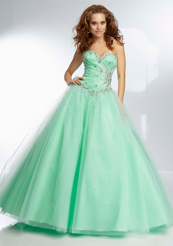 Blue /coral / Mint Green Dress Debutante Ball Gowns For 15 Years ...