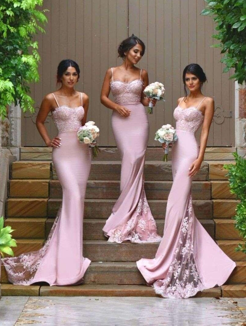 New Design Sexy Spaghetti Straps Mermaid Bridesmaid Dresses Lace Appliqued Fitted Prom Dresses Wedding Party Dresses