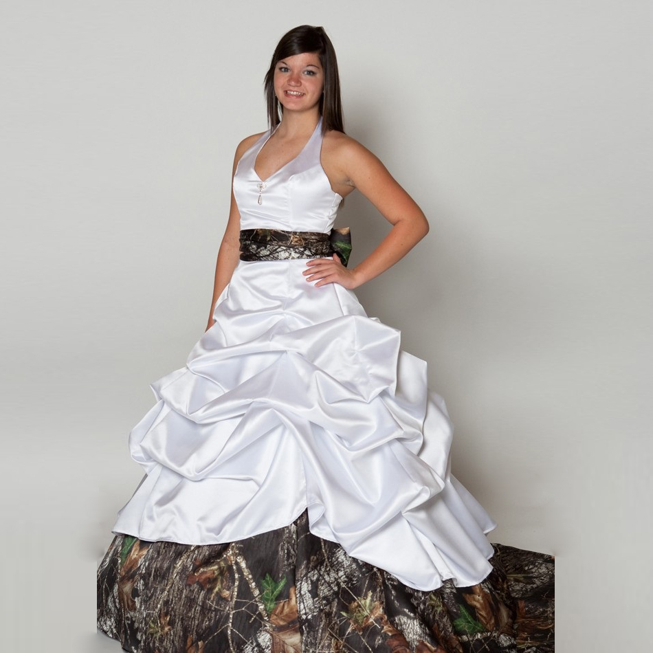 Halter Camo Wedding Dresses White Flouncing Ruffles Sash Cheap Ball ...