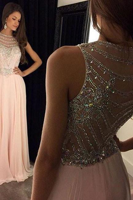 Custom Made Beaded Chiffon Dresses, A Line Long Prom Dresses, Pink Formal Dresses, Evening Dresses
