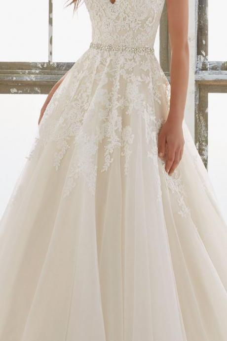Lace Appliqués Plunge V Tie-Back Floor Length Tulle Wedding Gown Featuring Crystal Embellished Belt