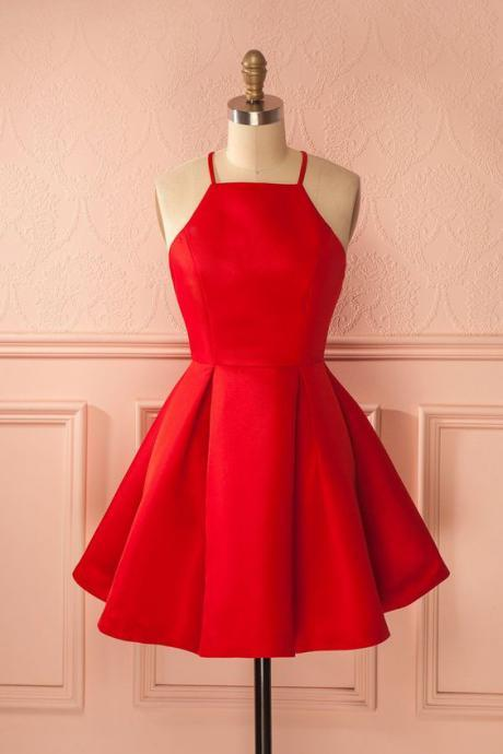 Simple A-line Homecoming Dresses Satin Cocktail Dresses Party Dresses