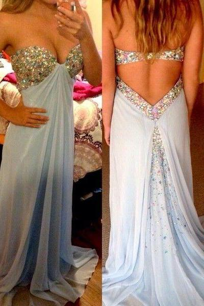 Sexy Light Blue A-Line Beaded Prom Dress Chiffon Sweetheart Sequined Prom Dress Party Dress