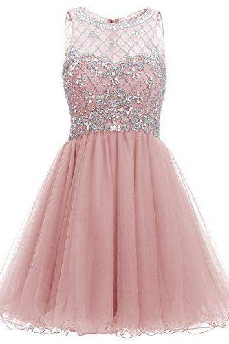 Pretty Pink Short A-line Tulle Homecoming Dresses with Beading Sweetheart Homecoming Dresses Party Dresses