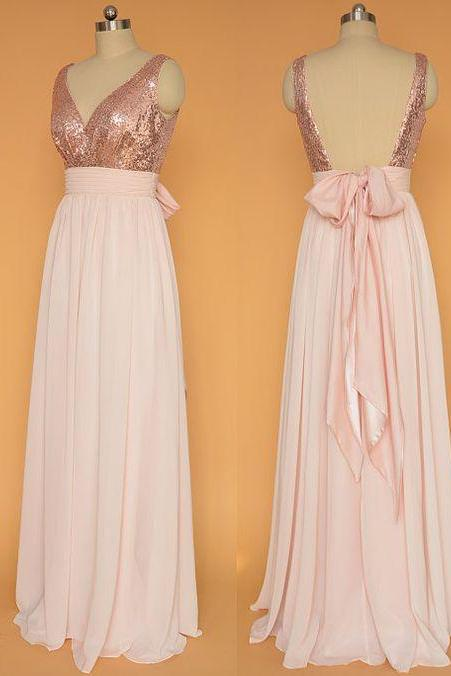Sexy V-neck Rose Gold Chiffon Long Prom Dresses Sequin Homecoming Dresses with Bow
