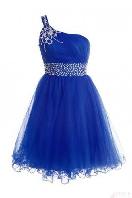 Cute Tulle One Shoulder Beaded Homecoming Dresses Mini Royle Blue Cocktail Dresses Party Dresses