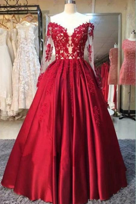 Sexy Red Long Off the Shoulder Prom Dresses Satin Long Sleeve Plus Size Prom Dresses Evening Gowns Party Dresses