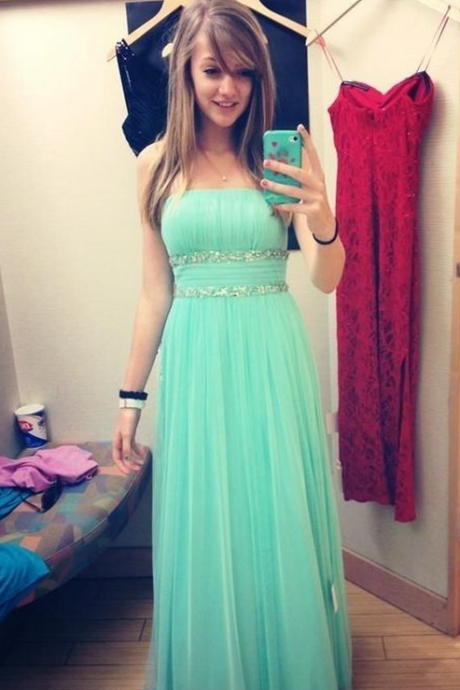 Pretty A-line Light Green Long Prom Dresses Sweetheart Chiffon Sleeveless Prom Dresses Evening Gowns